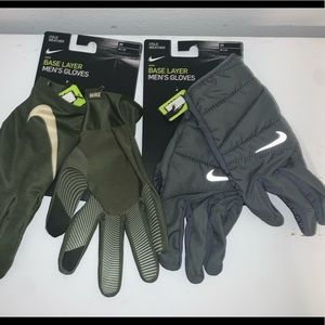 🔐LOT OF 2 MENS NIKE COLD WEATHER BASELAYER GLOVES